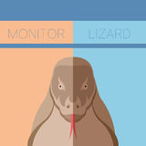 Monitor lizard flat postcard Royalty Free Stock Photography