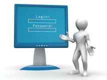 Monitor with Login and password Royalty Free Stock Photography