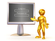 Monitor with Login and password Stock Photo