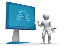 Monitor with Login and password Royalty Free Stock Image