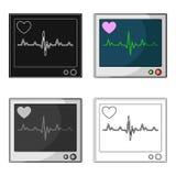Monitor médico Solo icono de la medicina en web del ejemplo de la acción del símbolo del vector del estilo de la historieta Fotografía de archivo