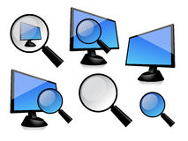 Monitor and magnifier. The simply vector image of monitor with magnifier royalty free illustration
