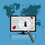 Monitor with magnify glass. Virus concept Stock Photo