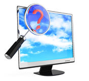 Monitor and magnifying glass Royalty Free Stock Image