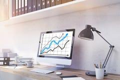 Monitor met bedrijfsgrafiek Royalty-vrije Stock Afbeelding