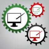 Monitor met borstelteken Vector Drie verbonden toestellen met pictogram royalty-vrije illustratie