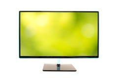 Monitor met een beeld van een vage groene natuurlijke achtergrond Royalty-vrije Stock Fotografie