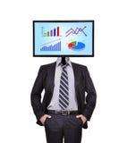 Monitor met grafiek voor een hoofd Royalty-vrije Stock Foto's