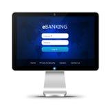Monitor met het ebanking van login pagina over wit Royalty-vrije Stock Afbeeldingen