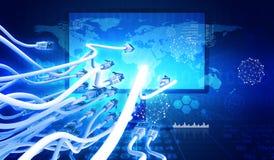 Monitor met kabel en grafieken Stock Foto