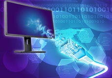 Monitor met kabel en wereldkaart Royalty-vrije Stock Foto