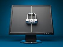 Monitor met slot. De veiligheid van de computer. 3d Royalty-vrije Stock Foto's