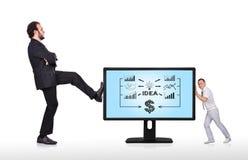 Monitor mit Geschäftskonzept Stockbilder
