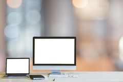 Free Monitor Mockup Digital Laptop And Computer PC Blank White Screen On Wood Table At Coffee Shop Royalty Free Stock Image - 158835846