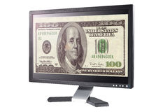 Monitor moderno del LCD de la pantalla plana con el dinero. Imagen de archivo libre de regalías