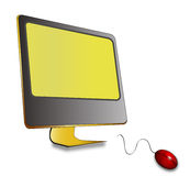 Monitor with mouse. In white background vector Royalty Free Stock Image