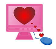 Monitor mouse hearts Royalty Free Stock Images