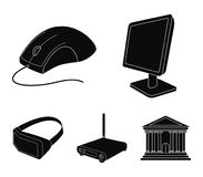 Monitor, mouse and other equipment. Personal computer set collection icons in black style vector symbol stock. Illustration Stock Image