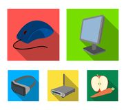 Monitor, mouse and other equipment. Personal computer set collection icons in flat style vector symbol stock. Illustration Stock Photos