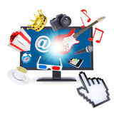 Monitor and multimedia objects Royalty Free Stock Photo