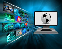 Monitor. Multiple different images in the virtual space and international Internet network Royalty Free Stock Images