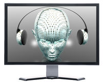 monitor with music girl Stock Images