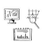 Monitor, Notizbuch und Geschäftsdiagrammskizzen Stockbild