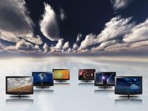 Monitor o televisione con il cielo Fotografia Stock Libera da Diritti