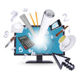 Monitor and office supplies Stock Photography