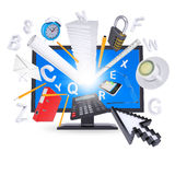 Monitor and office supplies Royalty Free Stock Photography