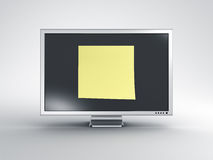 Monitor with oversized post it note Stock Photography