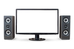 Monitor PC landscape and sound woofer isolated on white backgrou Royalty Free Stock Image