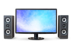 Monitor PC sky landscape and sound woofer isolated on white back Royalty Free Stock Photos