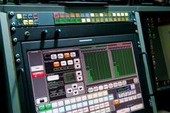 Monitor per controllo dei processi nella radiodiffusione della registrazione dello studio Immagini Stock