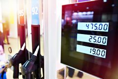 Petrol station for vehicles. Monitor of petrol station for vehicles stock photos