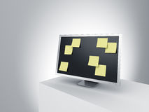 Monitor on a podium with post it notes. Royalty Free Stock Photos