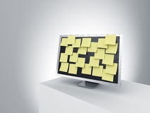 Monitor on a podium with post it notes. Stock Image