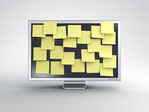Monitor with post it notes Royalty Free Stock Images
