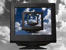Monitor preto Fotografia de Stock Royalty Free