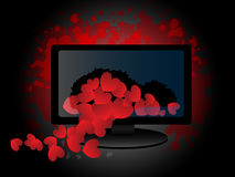 Monitor quebrado con los pequeños corazones Fotos de archivo libres de regalías