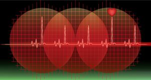 Monitor with red heart beat Stock Image