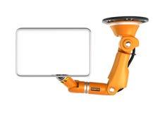 Monitor robótico anaranjado del espacio en blanco de la tenencia de brazo del techo para el espacio de la copia stock de ilustración