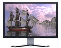 Monitor with Sailing vessel Royalty Free Stock Images