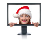 Monitor and Santa Stock Image