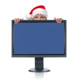 Monitor and Santa Stock Images