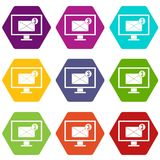 Monitor screen with email sign icon set color hexahedron Royalty Free Stock Images