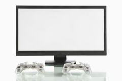 Monitor screen and game pads Stock Images