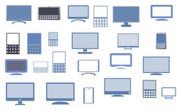 Monitor screen and mobile icon set Royalty Free Stock Photography