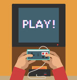 Monitor screen with retro video game Stock Photography