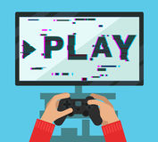 Monitor screen with video game Royalty Free Stock Images